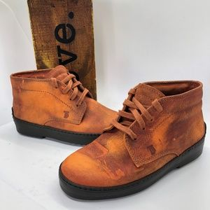 Tod's Junior Rust Distressed Lace-Up Ankle Boots-US 13